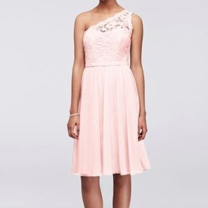Davids Bridal Short One Shoulder Corded Lace Dress